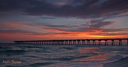 red sky sun beach water yellow clouds evening pier florida springbreak panamacitybeach 2012 suset