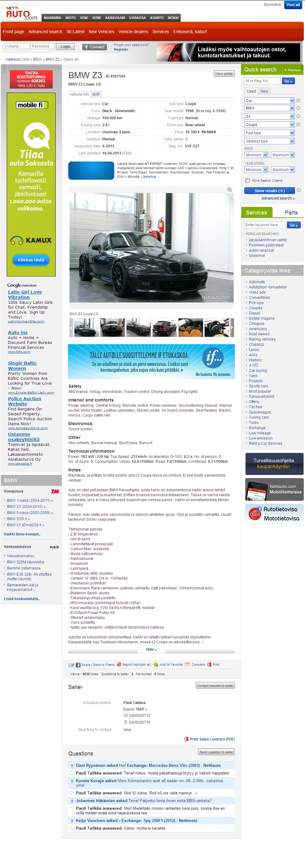1998 Z3 Coupe | Jet Black | Walnut | Finland | Ad Screenshot