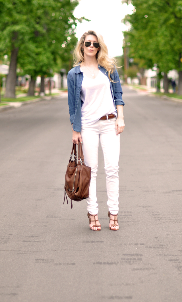 white jeans-white t- denim shirt-madewell