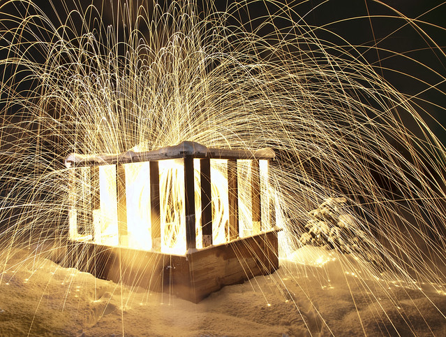 Long Exposure of Steel Wool Sparks at Night in the Snow
