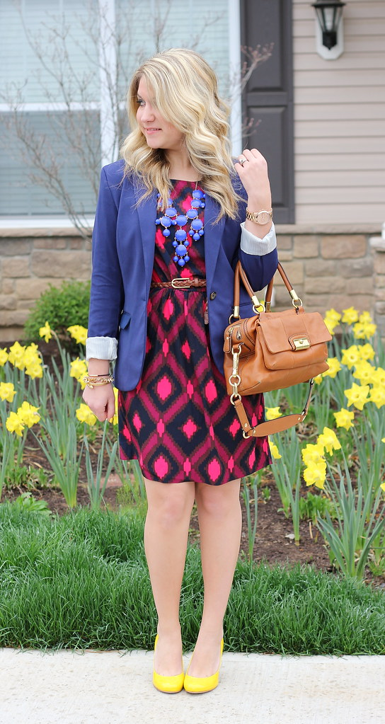 ikat print dress work outfit