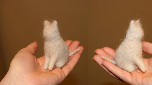 Needle felt cat with real cat hair - in progress