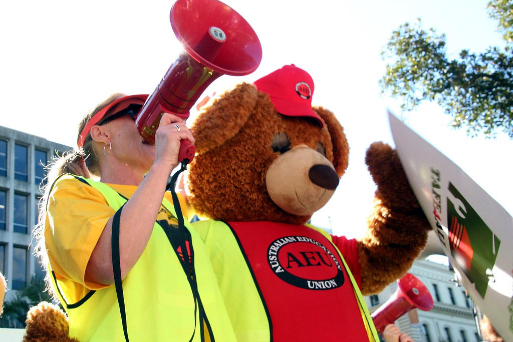 The bear says no to the cuts - TAFE teachers and students rally outside Premier Baillieu's office