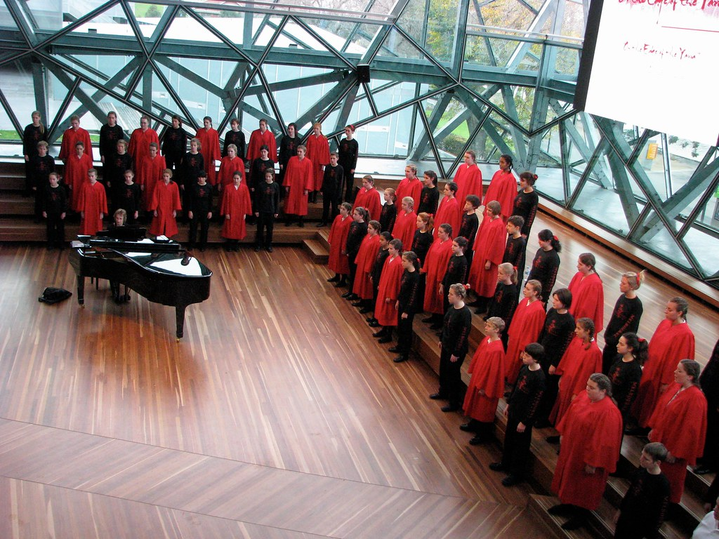 St. Louis Children's Choir performs a joint concert with the Young Voices of Melbourne at the BMW Edge Theatre in Melbourne