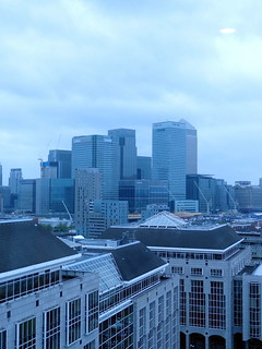 The view of Canary Wharf from the data centre building.