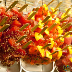 Sashimi on a Stick at Nishiki Food Market - Kyoto, Japan