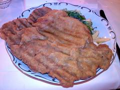 gravy(0.0), steak(0.0), pork chop(0.0), fried food(1.0), schnitzel(1.0), food(1.0), dish(1.0), cuisine(1.0),