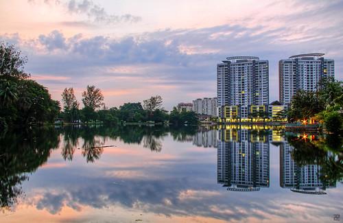 lake sunrise dawn hdr subangjaya subangria