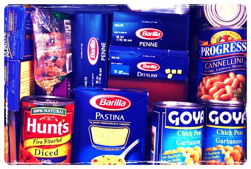 pasta-filled pantry shelf