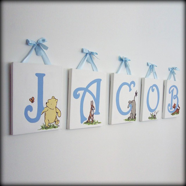 Classic winnie the pooh name wall art flickr photo for Baby room decoration letters