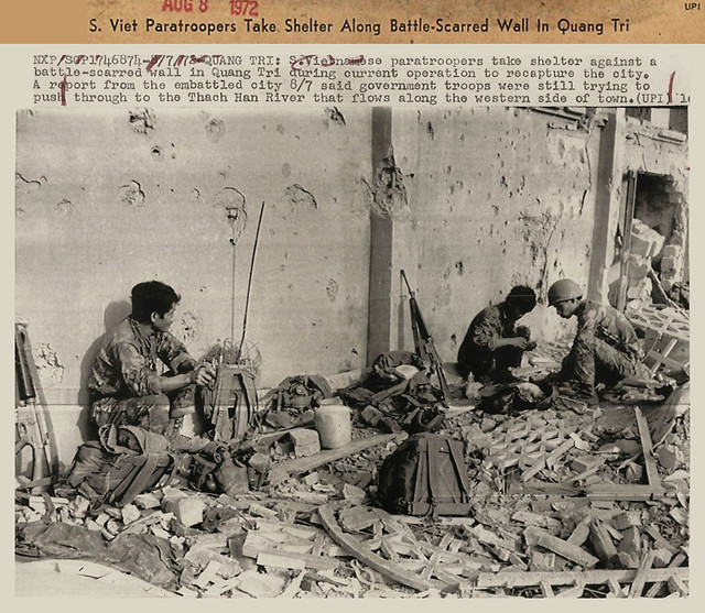 Quang Tri 1972 - Vietnamese Paratroopers Take Shelter Along battle Scarred Wall in Quang Tri