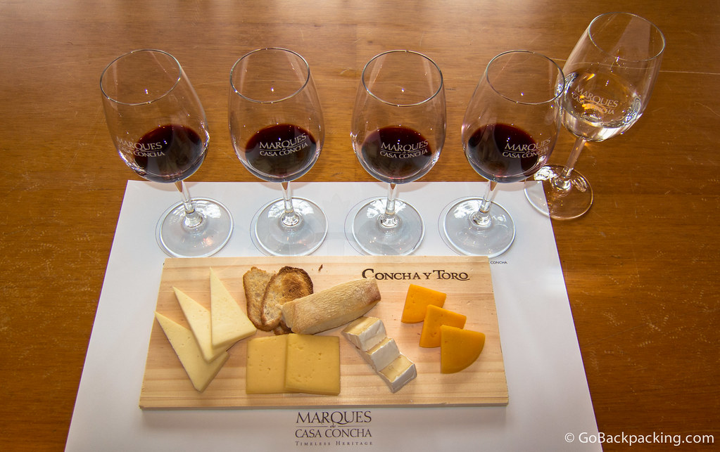 Tasting four wines by Marques de Casa Concha, with cheese pairings