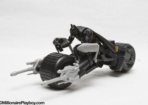 Batman on the unarmored Batpod
