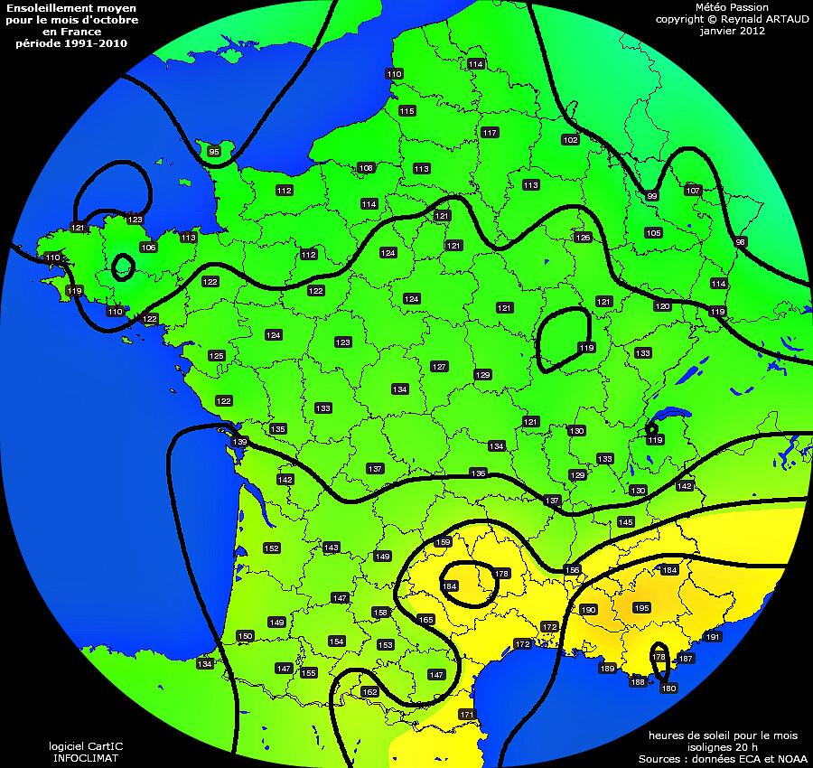 ensoleillement moyen pour le mois d'octobre en France période 1991-2010 Reynald ARTAUD météopassion