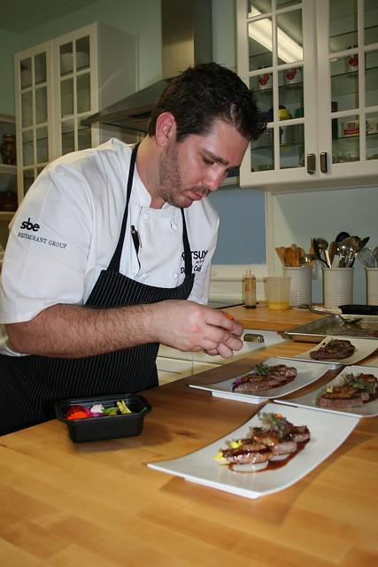 Chef Coffman plates Kobe foie gras