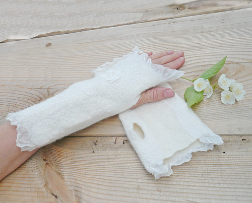 wedding gloves, nuno felting, handmade<a href=