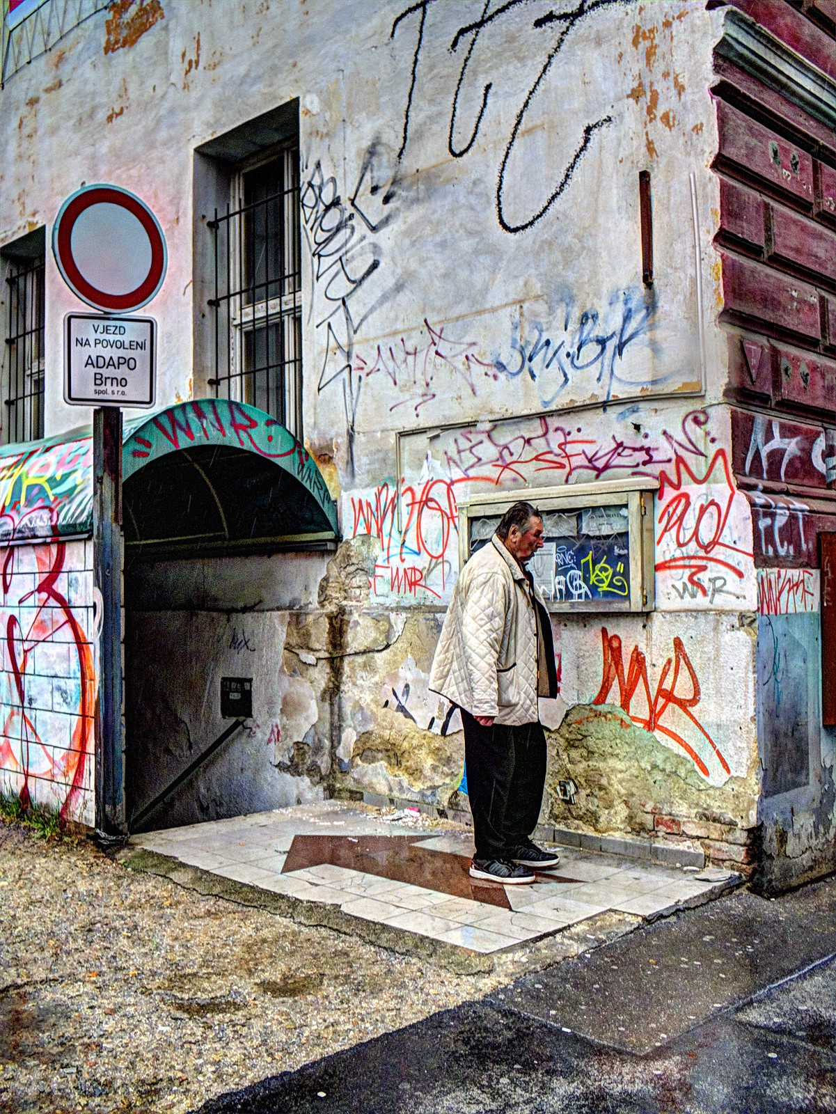Elderly Man Surrounded by Graffitis - Surreal Version
