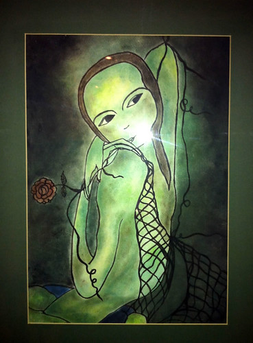the green lady created with pastels and ink by Neeti