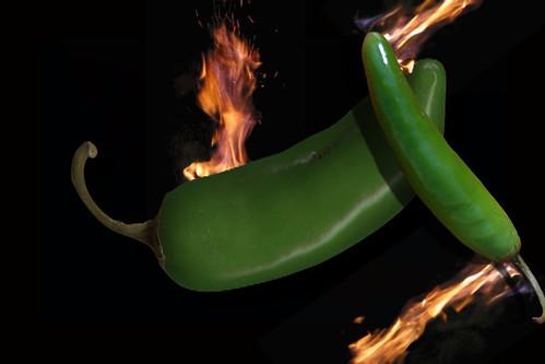 serrano & jalapeño chiles on fire
