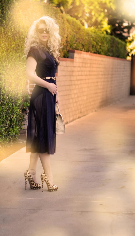 new   leopard heels -  big hair- vintage fashion-sheer dress
