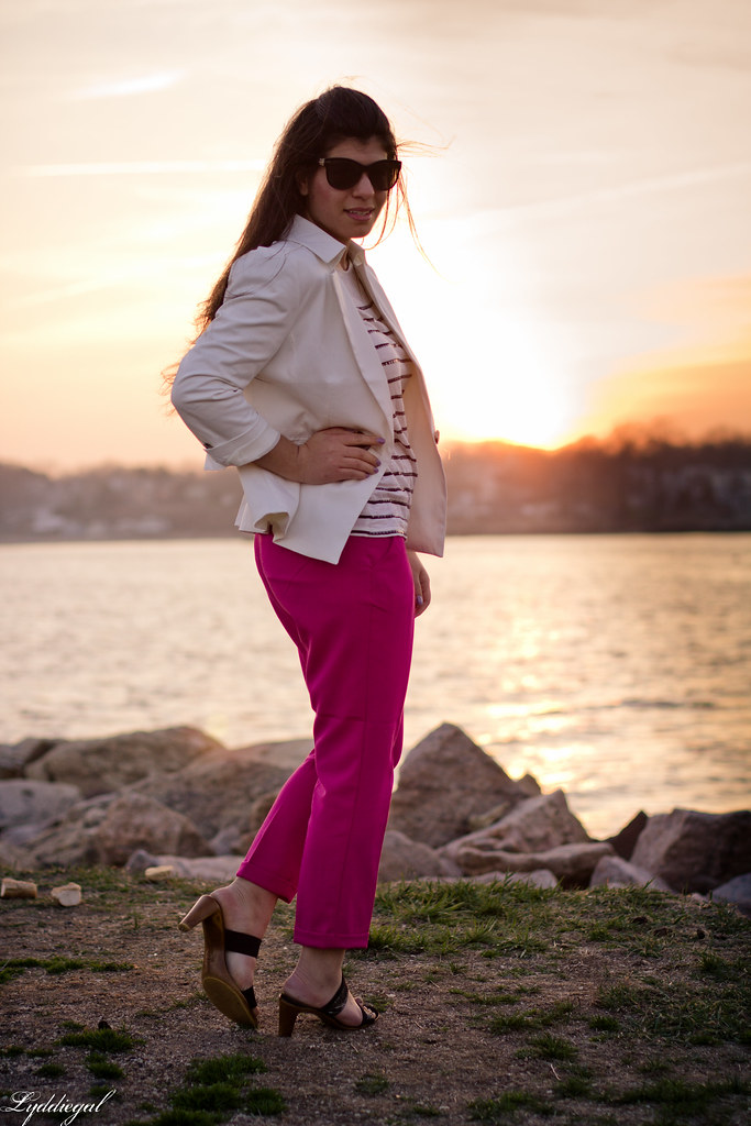 pink pants, white blazer, stripes