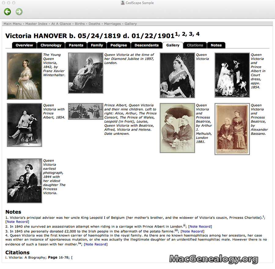 Mac Genealogy Software - GedScape - Individual Gallery