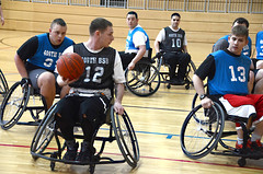 wheelchair racing(0.0), wheelchair sports(1.0), disabled sports(1.0), sports(1.0), team sport(1.0), wheelchair basketball(1.0), ball game(1.0), basketball(1.0), team(1.0),