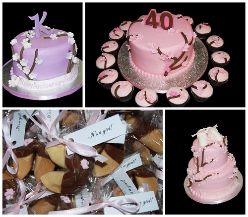 Cherry Blossom Cakes, cupcakes and Favors