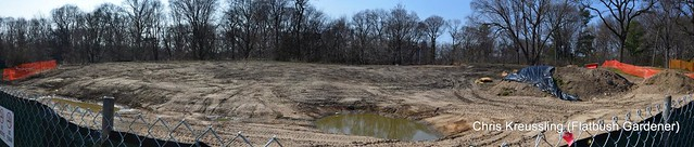 Panorama of the expansion site for the Brooklyn Botanic Garden Native Flora Garden