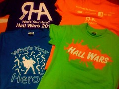 Hall Wars shirts from 2011 and 2012, respectively! Both competitors and volunteer staff members get shirts every year!