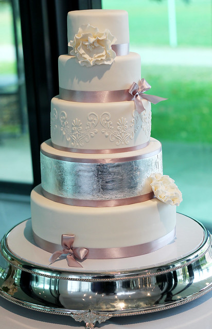 5 tier wedding cake with stencil work and silver leaf flickr photo sharing. Black Bedroom Furniture Sets. Home Design Ideas