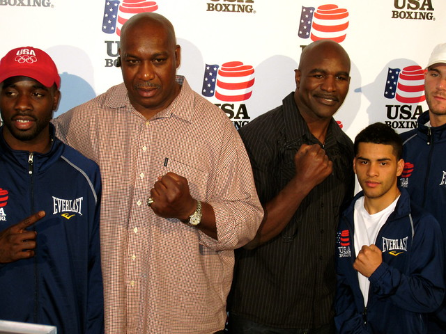 Henry Tillman, Evander Holyfield, USA BOXING HOSTS BENEFIT EVENING WITH BOXING GREATS AND OLYMPIC HOPEFULS