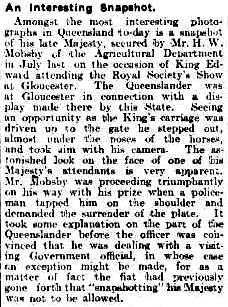 Newspaper article re snapshotting King Edward VII