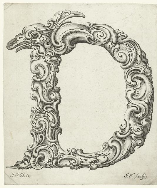 fantasy floral Letter 'D'