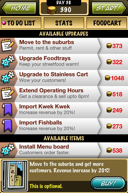 Streetfood Tycoon To Do List