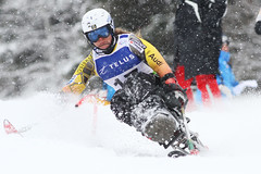 Kimberly Joines in action in an IPC World Cup super combined in Panorama, B.C.