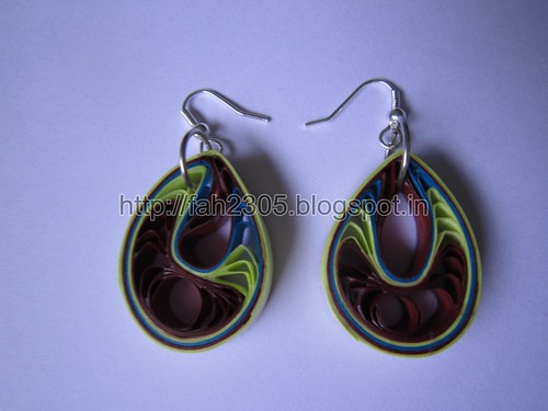 Handmade Jewelry -  Paper Teardrops Earrings (Jaali - Green and Brown) (2) by fah2305
