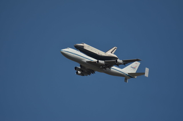 A more close up image of the space shuttle. Enterprise NYC flyover.