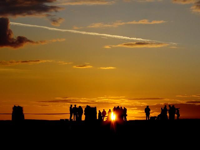 Sunset pre Jubilee Beacon, Baildon Moor Trig point