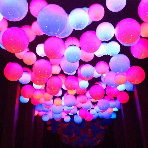 Floating Balloon Decoration For Wedding Purplr And Blue Colour