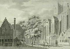 <p>Jacobikerk en Jacobskerkhof 1790. Coll. Het Utrechts Archief.</p>
