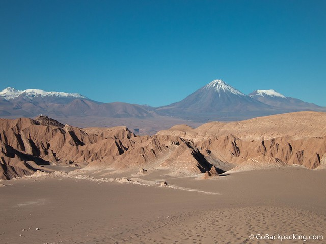 Epic view of snow-capped volcanoes and mountains in the Atacama Desert