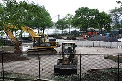 A construction project next to the amphitheater in East River Park.