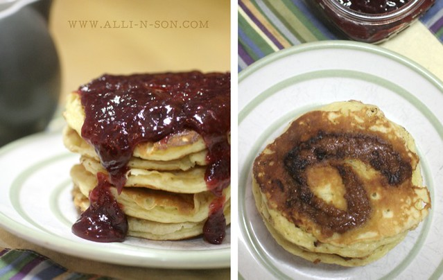 Peanut Butter Swirl Pancakes with Jelly Syrup Recipe