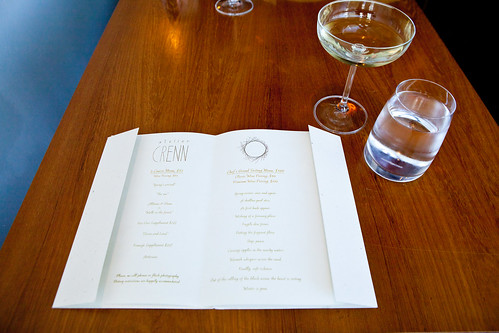 Perusing the menu, while sipping the Jean Babou Crémant de Limoux