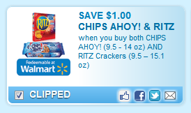 Chips Ahoy! (9.5 - 14 Oz) And Ritz Crackers (9.5 U2013 15.1 Oz)  Coupon