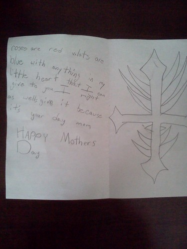 inside of Mother's Day card from Troy