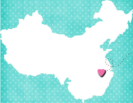 China map with pink heart