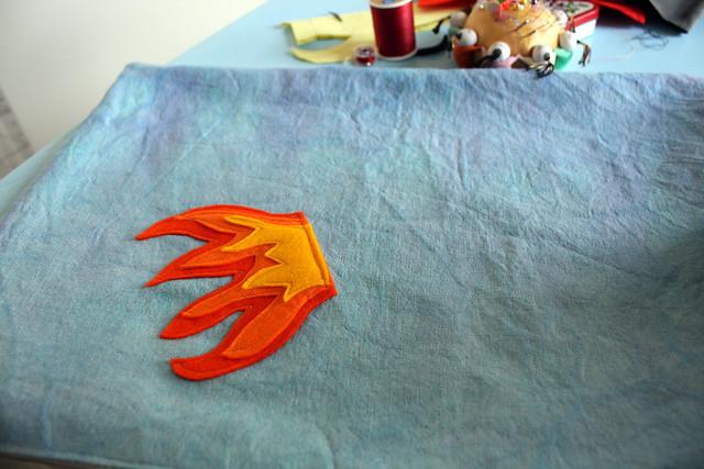 Rocket Pillow - flames on pillow