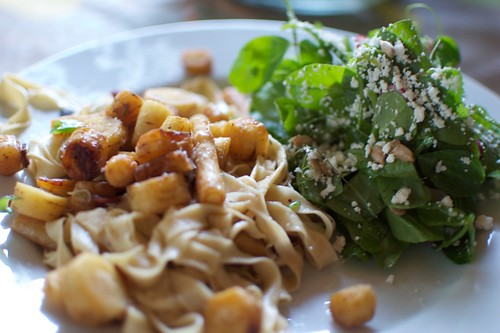 Homemade Pasta with Parsnips and Bacon with Pea Vine Salad